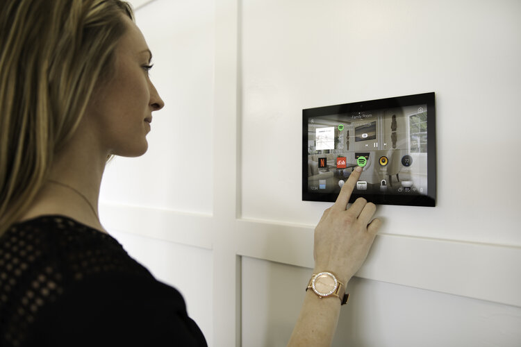 Control4 wall mount touchscreen with video intercom.
